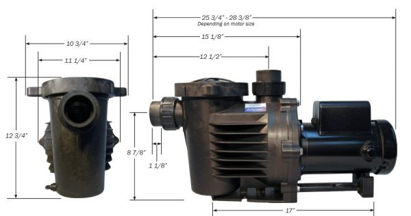 HKF Artesian 2 Low RPM Pond Waterfall pump Dimensions