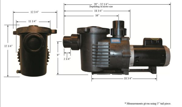 Hanover Koi Farms Performance ProArtesianPro electric pump dimensions