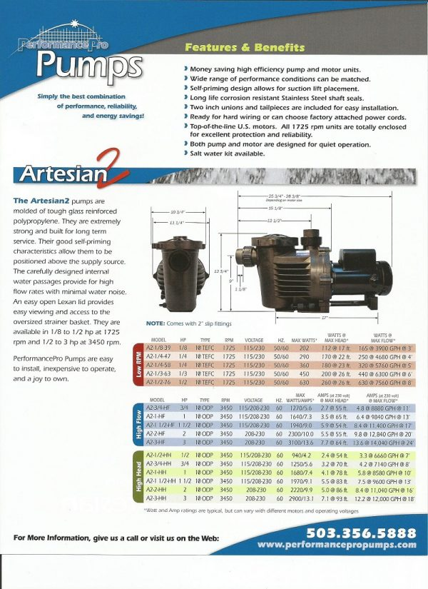 HKF Artesian 2 Pond Waterfall pump Flier